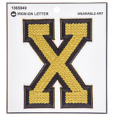 Gold Sequin Iron-On Letter - X